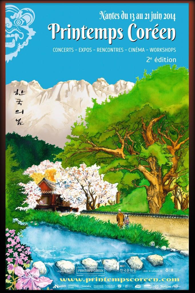 Affiche de la 2e édition de Printemps Coréen à Nantes (juin 2014)