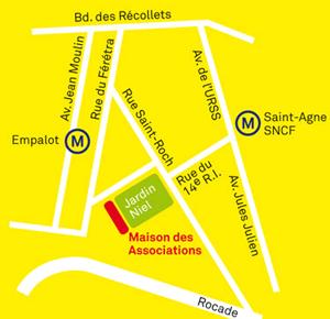 Plan d'accès à la Maison des Associations